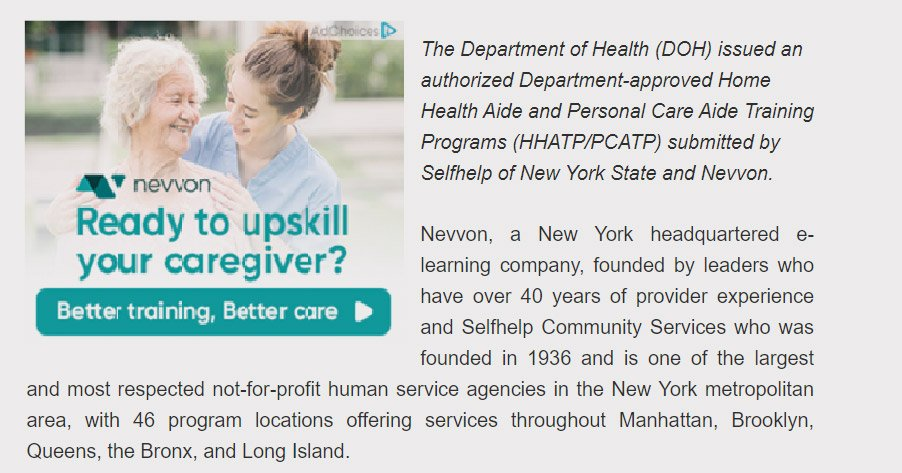 Nevvon and Selfhelp design a hybrid virtual/in-person training model for a Health Aide Training Program in New York State