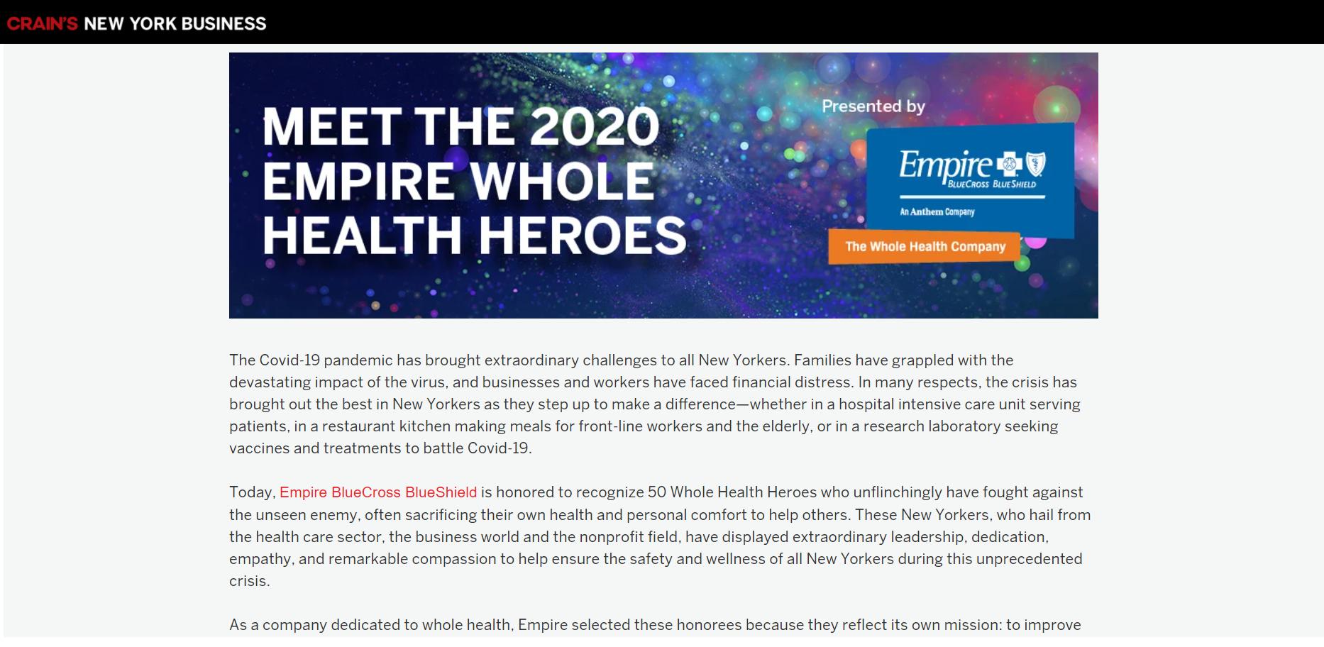 Empire BlueCross BlueShield recognize the 50 Whole Health Heroes